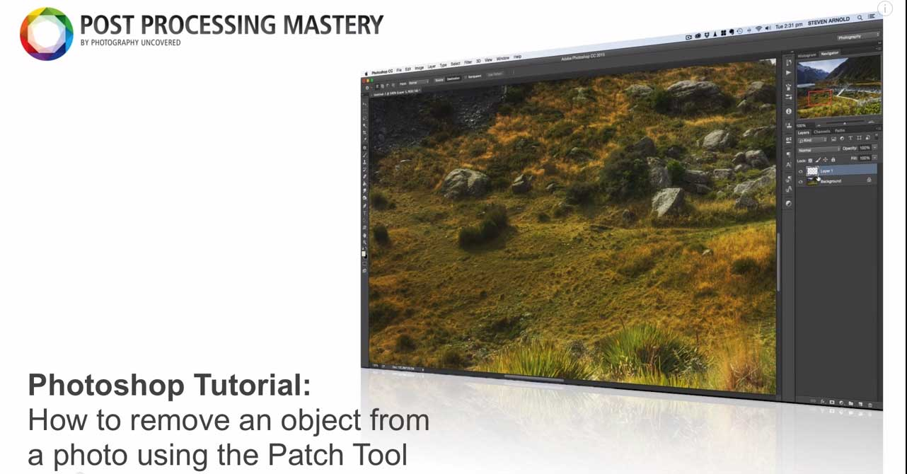 Photoshop Tutorial: How to use the patch tool to remove objects from your photos